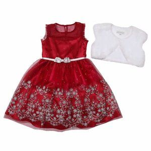Jona Michelle Kids' Holiday Dress, Red with White